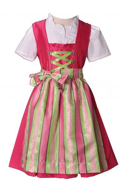 Kinderdirndl Maria pink/grün 3-tlg. Set Isar Trachten