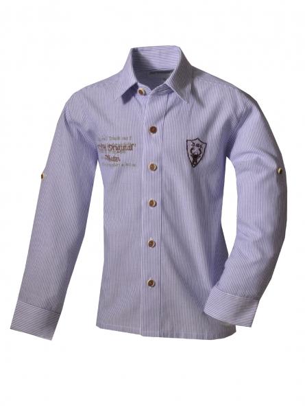 Kinder Trachtenhemd Hettenshausen blau gestreift Langarm Isar-Trachten