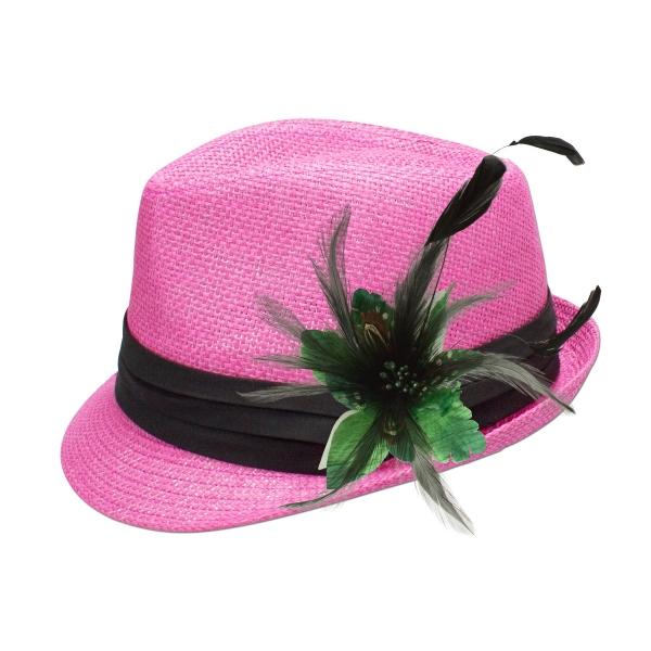 Trachten-Strohhut pink Feder-Clip grün