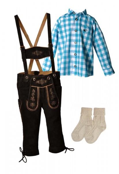 Kinder Trachtenlederhosen-Set 4-tlg. kniebund dunkelbraun von Lekra mit türkisem Hemd von OS Trachte