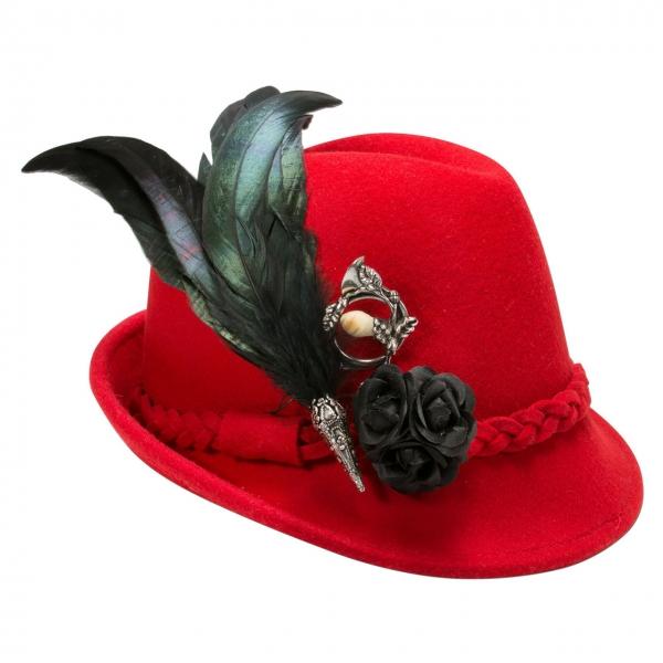 Trachtenhut Trachten Hut mit Feder Riekofen rot Alpenflüstern