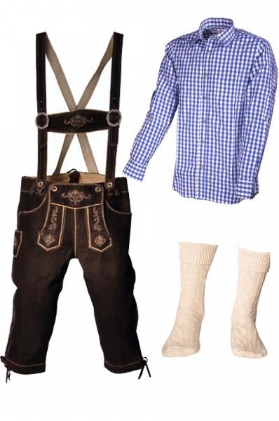 Trachtenlederhosen-Set 4-tlg. Kniebund dunkelbraun mit blauem Hemd von Fuchs