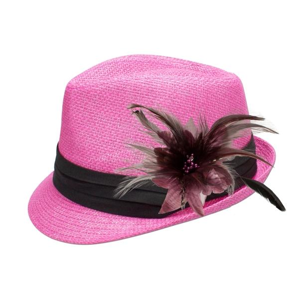 Trachten-Strohhut pink Feder-Clip helles lila Alpenflüstern