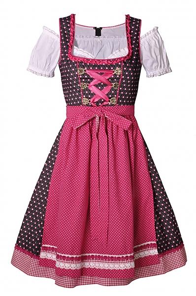 Dirndl midi 60 cm Manu anthrazit/pink Trachtenset 3-tlg. Bayer Madl