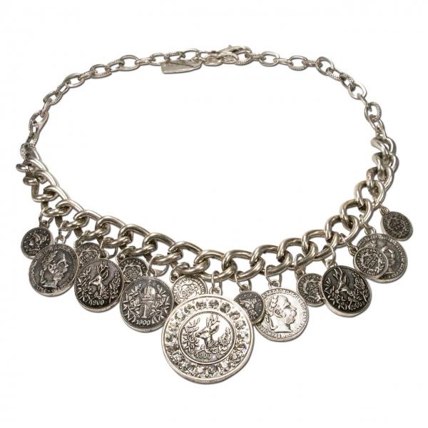 Trachtenkette Münzen Glitzerhirsch altsilber-farben