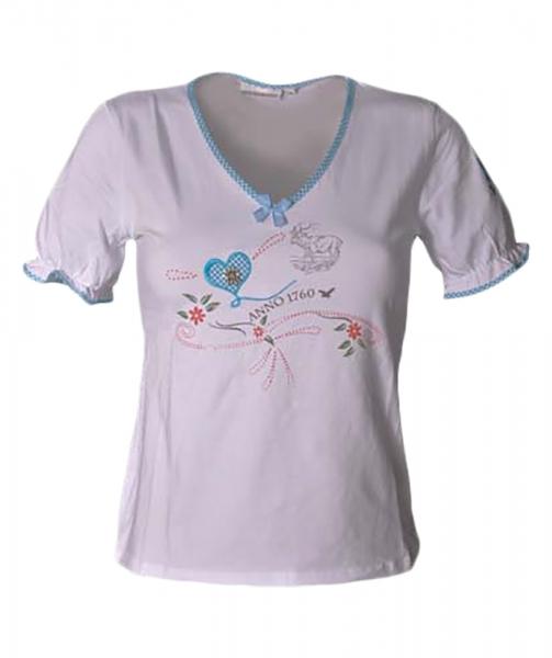 Trachten-T-Shirt Sona weiss/türkis Anno Stockerpoint