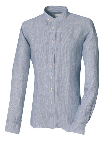 Trachtenhemd Wipfeld blau navy Langarm Slim Fit Stehkragen Leinen Almsach