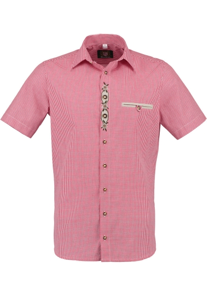 Trachtenhemd Pöttmes rot Karo Kurzarm Regular Fit OS Trachten