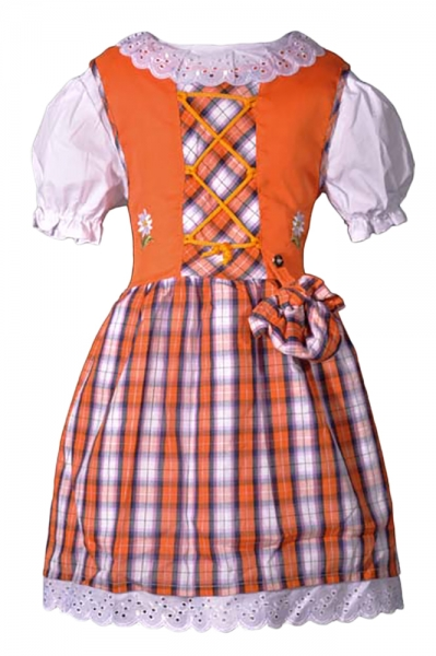 Kinderdirndl Edith orange 2-tlg. Trachtenset
