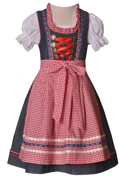 Kinderdirndl Naomi jeans/rot Trachtenset 3-tlg. Bayer Madl