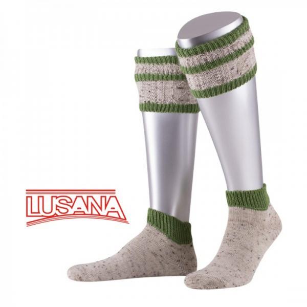 Trachten Kurz-Loferl Set-2tlg. Wadenwärmer Socken Loden-Tweed beigemeliert/apfelgrün Lusana