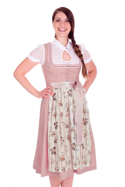 Dirndl midi 65 cm Kelheim rosa creme Bayer Madl