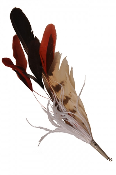 Hutfeder rot/weiß/braun lang