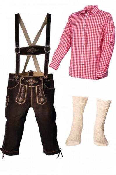 Trachtenlederhosen-Set 4-tlg. Kniebund dunkelbraun mit rotem Hemd von Fuchs