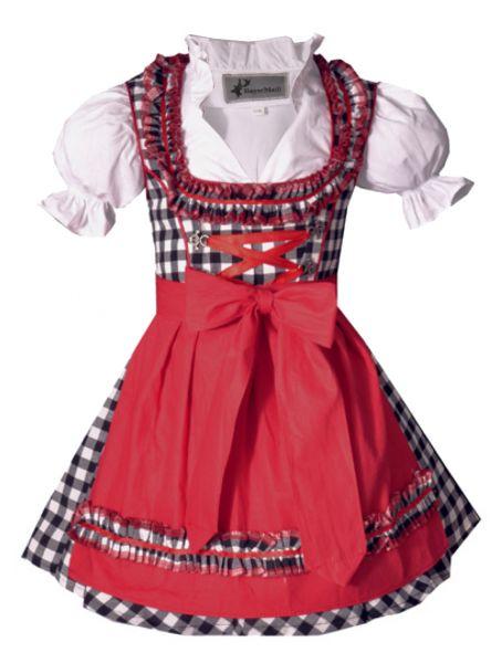 Kinderdirndl Edita rot/schwarz Set 3-tlg. Bayer Madl