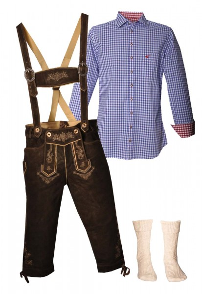 Trachtenlederhosen-Set 4-tlg. Kniebund urig antik von Stockerpoint mit blauem Hemd von OS Trachten