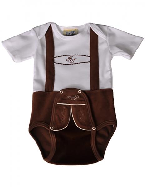 Baby Trachtenbody Till weiß/braun Isar Trachten