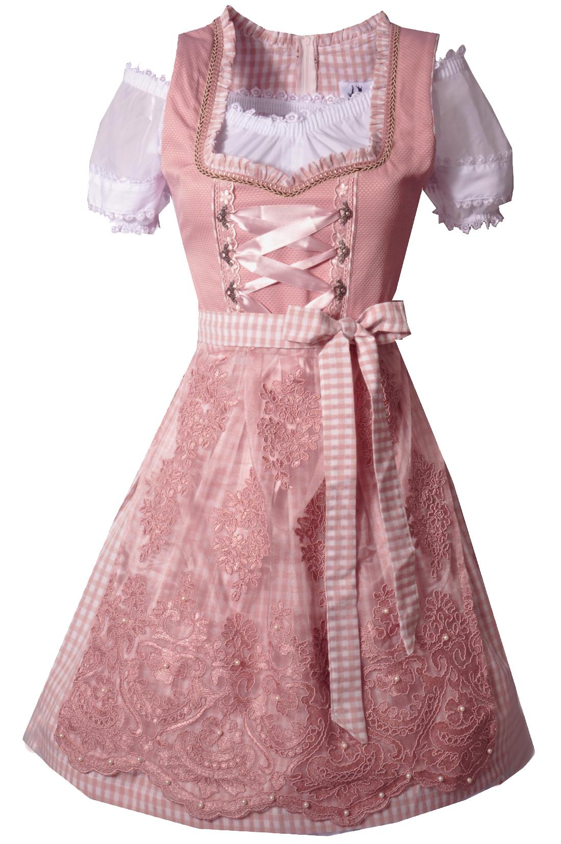 4199271727a51 Dirndl midi 60 cm Gebsattel rosa Trachtenset 3-tlg.