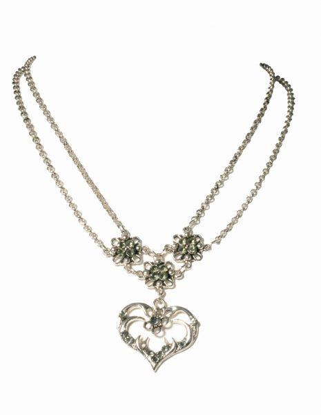 Trachtenkette Pfettrach grau Herz Wolkenweiss
