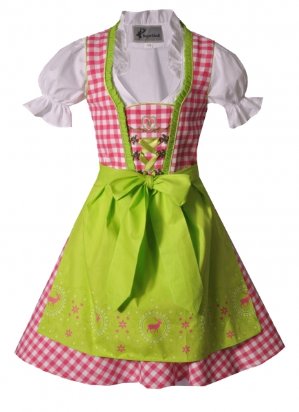 Kinderdirndl Josy pink/grün Set 3-tlg. Bayer Madl