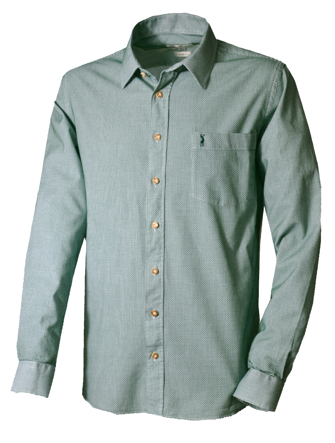 Trachtenhemd langarm hellgrün dunkelgrün kariert slimfit von