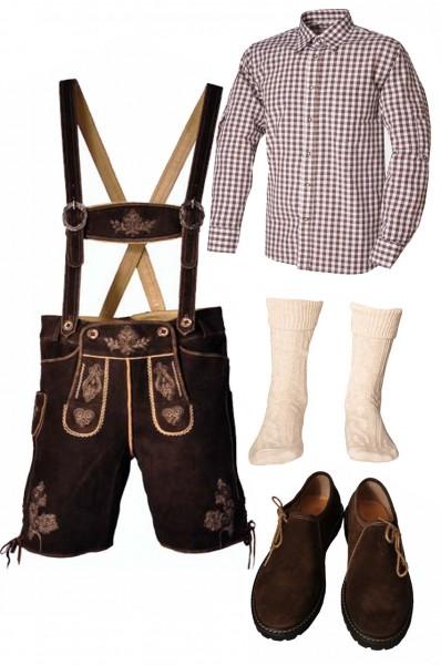 Trachtenlederhosen-Set 5-tlg. kurz dunkelbraun mit braunem Hemd und Schuhen von Fuchs