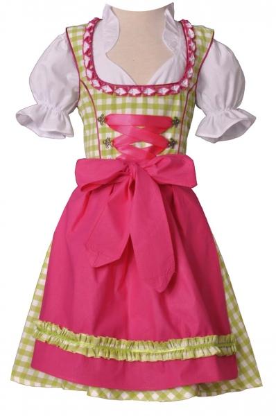 Kinderdirndl Irlbach grün/pink Trachtenset 3-tlg. Bayer Madl