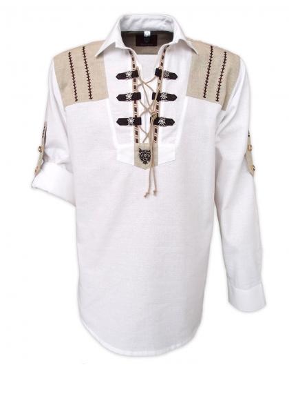 Trachtenhemd Wiesau weiß Krempelarm OS Trachten