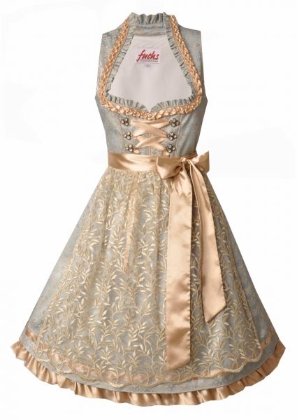 Dirndl midi 60 cm Langfurth hellblau light Gold Fuchs