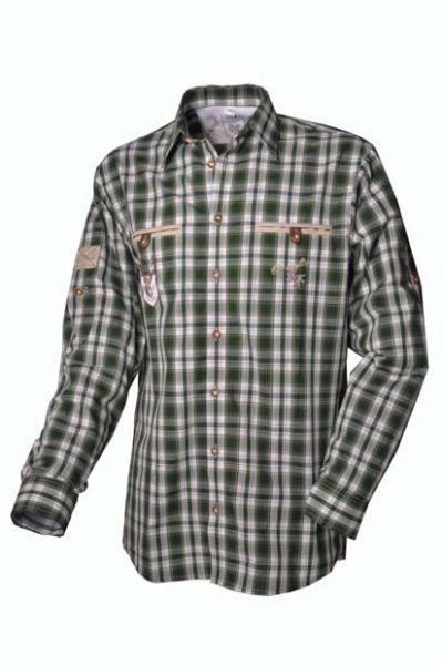 Trachtenhemd Bert grün Karo Langarm OS Trachten