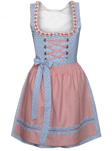 Dirndl mini 50 cm Oberschönegg blau hellblau rosa