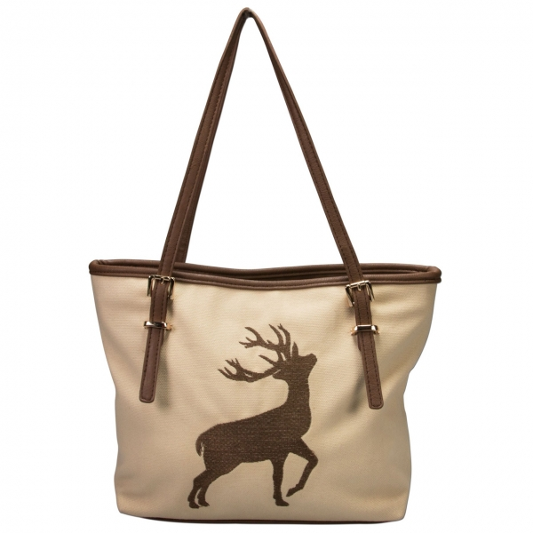 Trachten Handtasche Hirschstickerei beige