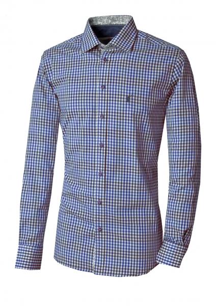 Trachtenhemd Tegernheim blau Karo Slim Fit Langarm OS Trachten