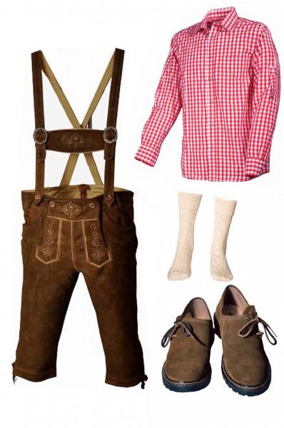 Trachtenlederhosen-Set 5-tlg. Kniebund hellbraun mit rotem Hemd und Schuhen von Fuchs