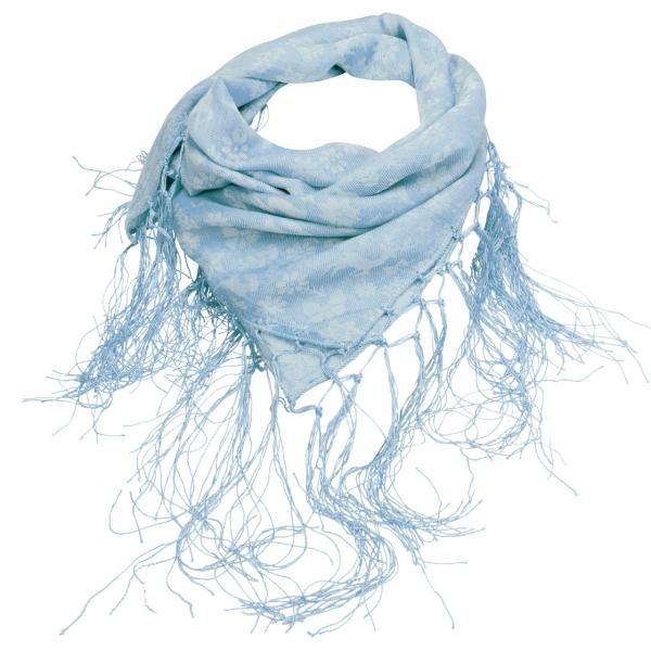 Trachtentuch Fransen-Jaquardtuch Tanzende Tiere blau