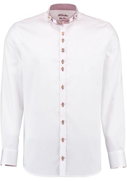 Trachtenhemd Taching weiß Slim Fit Stehbund mit Kragen OS Trachten