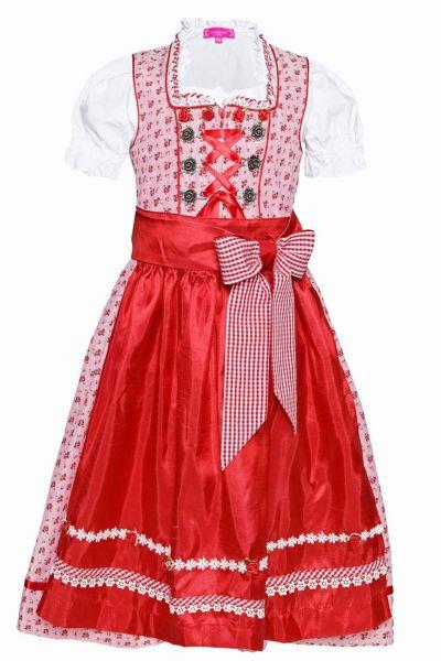 Kinderdirndl Sabine rot Trachtenset 3-tlg. Krüger
