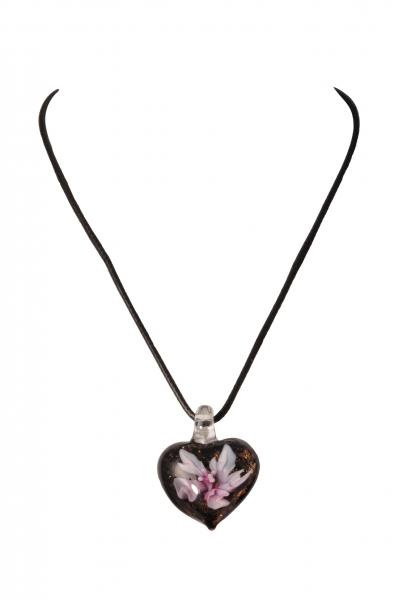 Dirndlkette Trachtenkette Treffelstein herzförmig Kunstglas lila