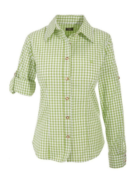 B-Ware / 2. Wahl - Trachtenbluse Doris giftgrün grün Karo Langarm OS Trachten