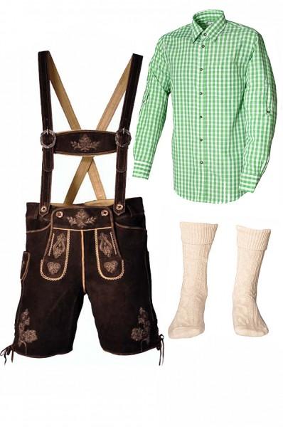 Trachtenlederhosen-Set 4-tlg. kurz dunkelbraun mit grünem Hemd von Fuchs