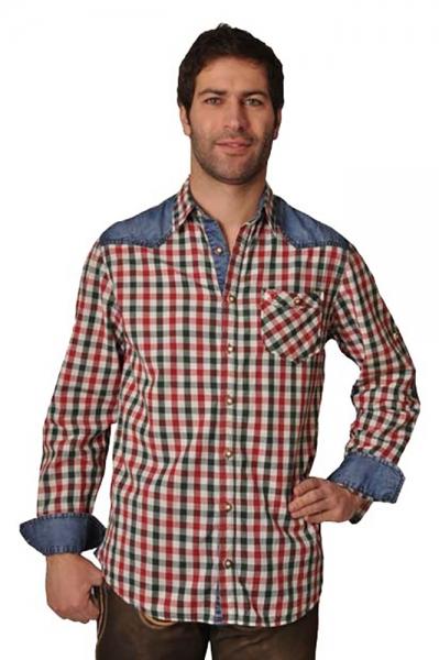 Trachtenhemd Franz tanne/rot Lekra