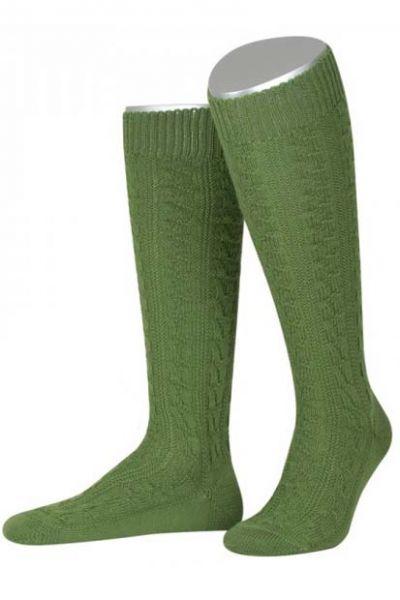 Trachtenkniestrumpf Socken apfelgrün Zopfmuster