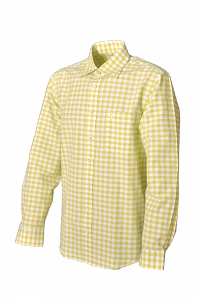 Trachtenhemd Carmelo Langarm hellgrün/gelb Karo Almsach