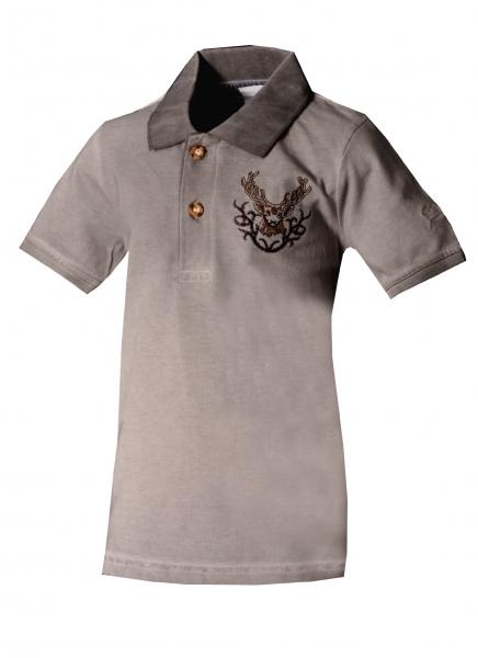 Kinder Trachtenshirt Poloshirt Glött grau Isar Trachten