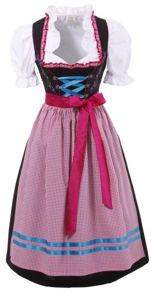 Dirndl midi 70 cm Ostergaden schwarz pink Set 3-tlg. Naber Collection