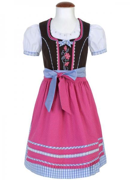 Kinderdirndl Dompteur braun/himmelblau/pink Trachtenset 3-tlg. Spieth & Wensky