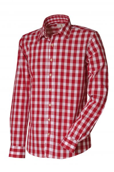 Trachtenhemd Harald rot slim fit Almsach