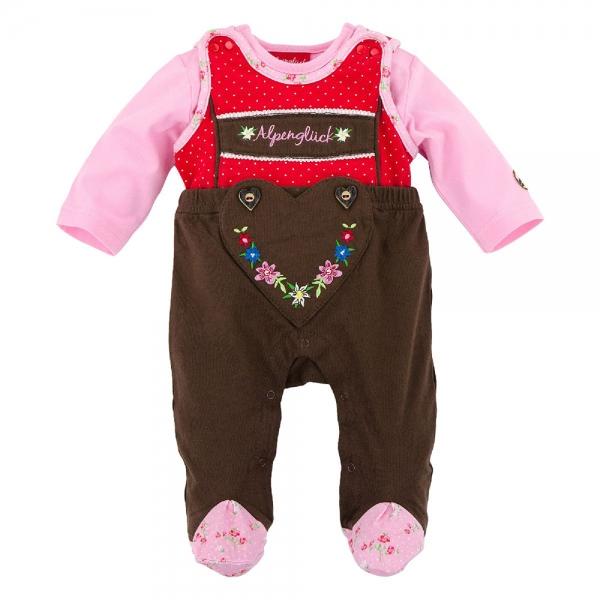 Baby Trachtenstrampler braun/rot Hosenträger Bondi