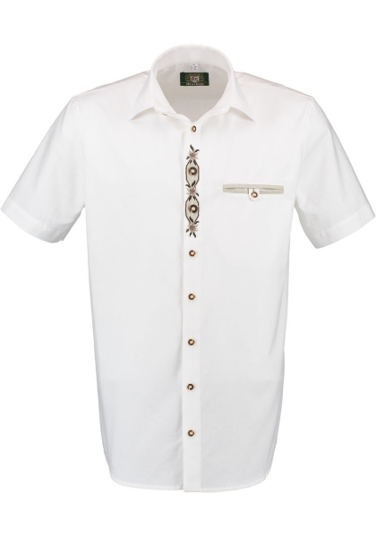 Trachtenhemd Pischeldorf weiß Kurzarm Stickerei OS-Trachten