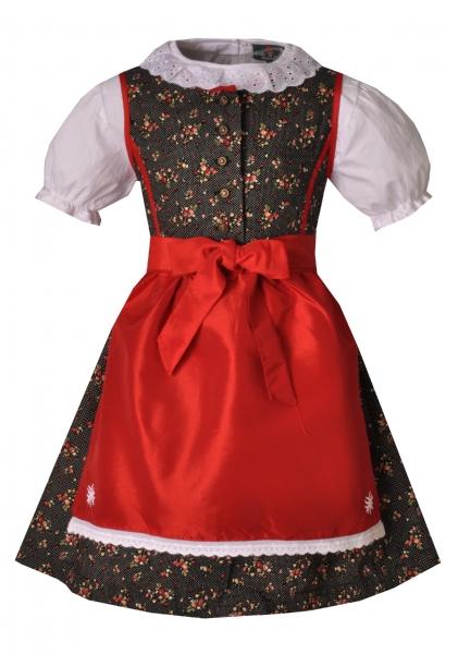 Kinderdirndl Delia schwarz/rot 3-tlg. Trachtenset